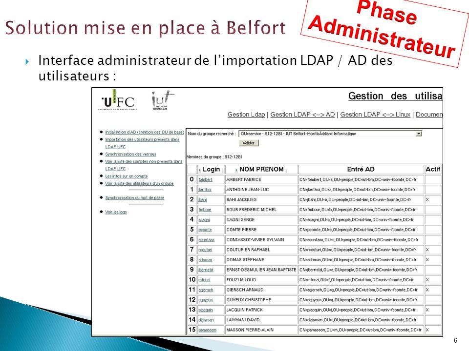 6 Interface administrateur de limportation LDAP / AD des utilisateurs :