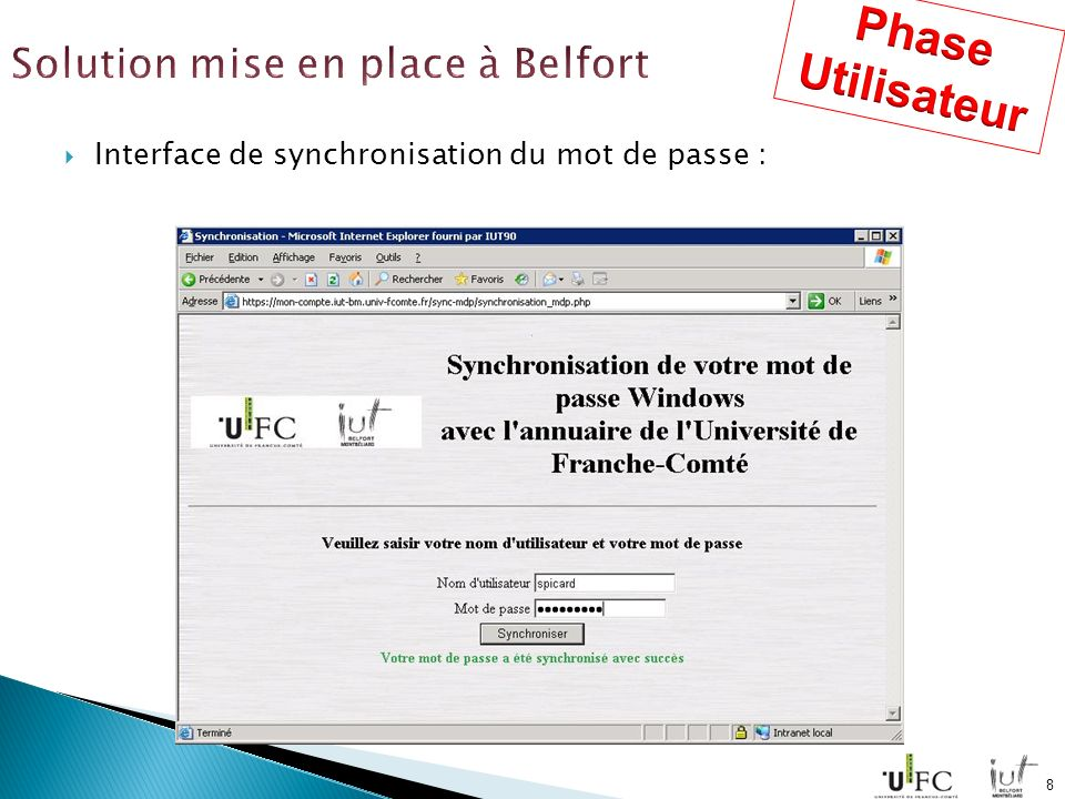 Interface de synchronisation du mot de passe : 8