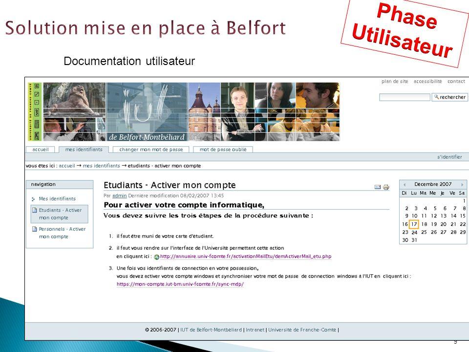 9 Documentation utilisateur