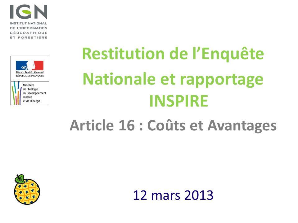 Restitution de lEnquête Nationale et rapportage INSPIRE Article 16 : Coûts et Avantages 12 mars 2013