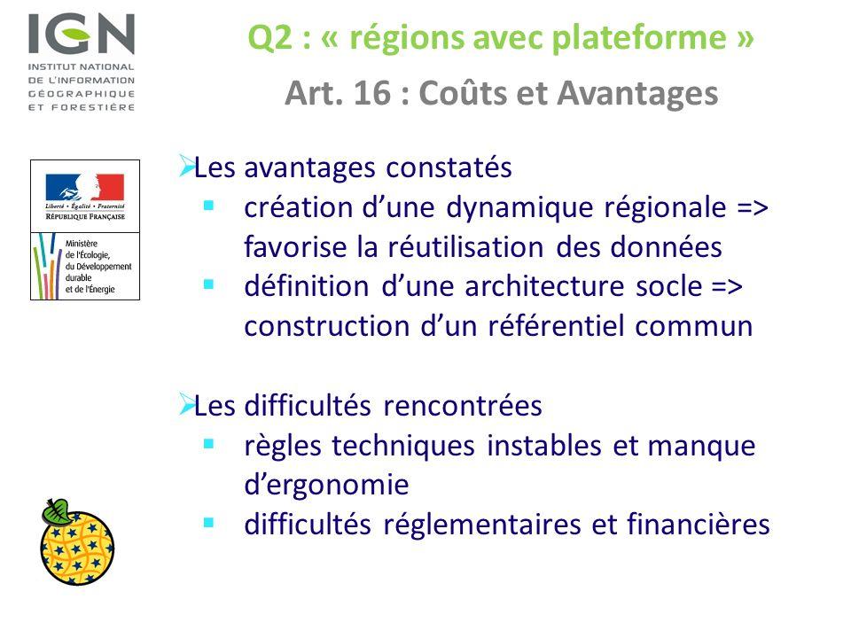 Q2 : « régions avec plateforme » Art. 16 : Coûts et Avantages Les avantages constatés création dune dynamique régionale => favorise la réutilisation d