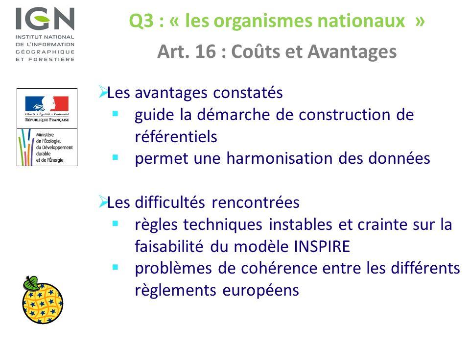 Q3 : « les organismes nationaux » Art. 16 : Coûts et Avantages Les avantages constatés guide la démarche de construction de référentiels permet une ha