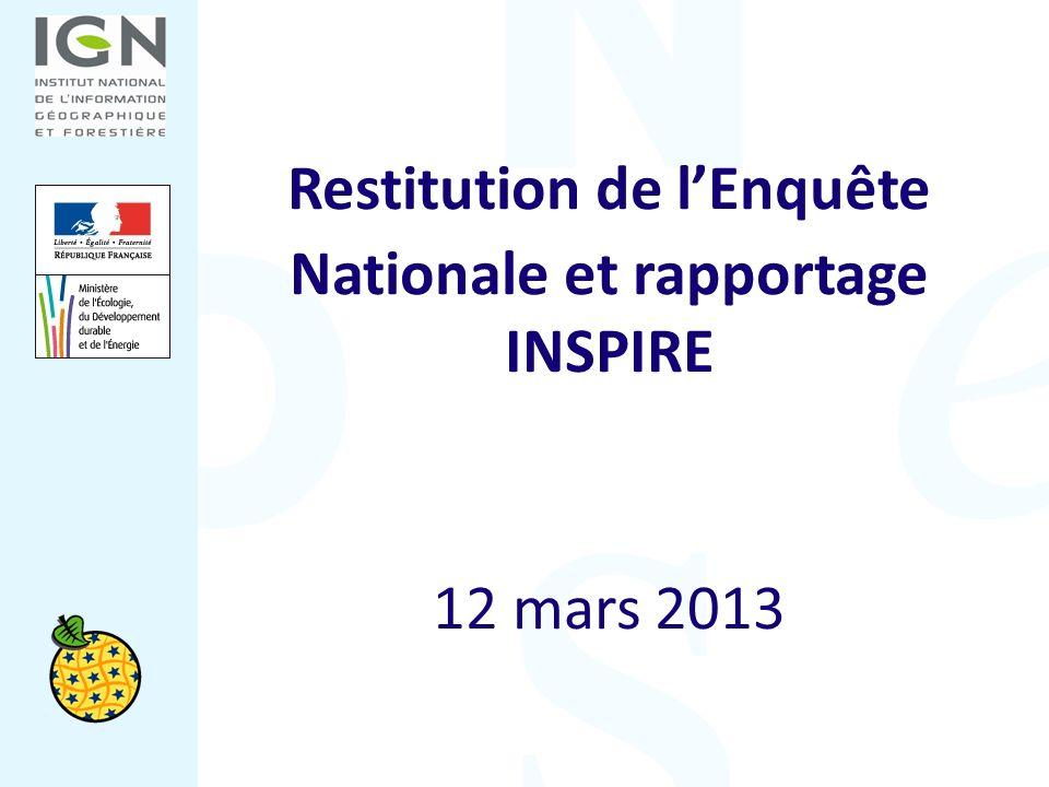 Restitution de lEnquête Nationale et rapportage INSPIRE 12 mars 2013
