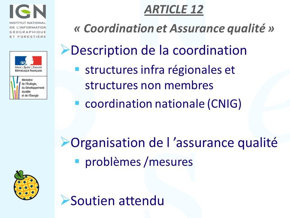 ARTICLE 12 « Coordination et Assurance qualité » Description de la coordination structures infra régionales et structures non membres coordination nat