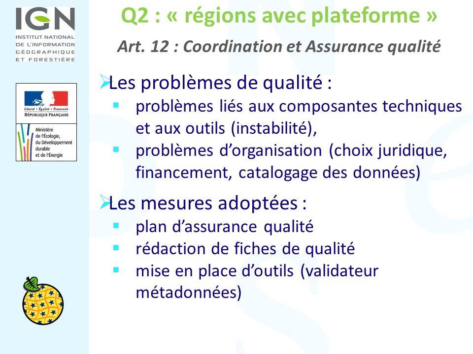 Q2 : « régions avec plateforme » Art. 12 : Coordination et Assurance qualité Les problèmes de qualité : problèmes liés aux composantes techniques et a