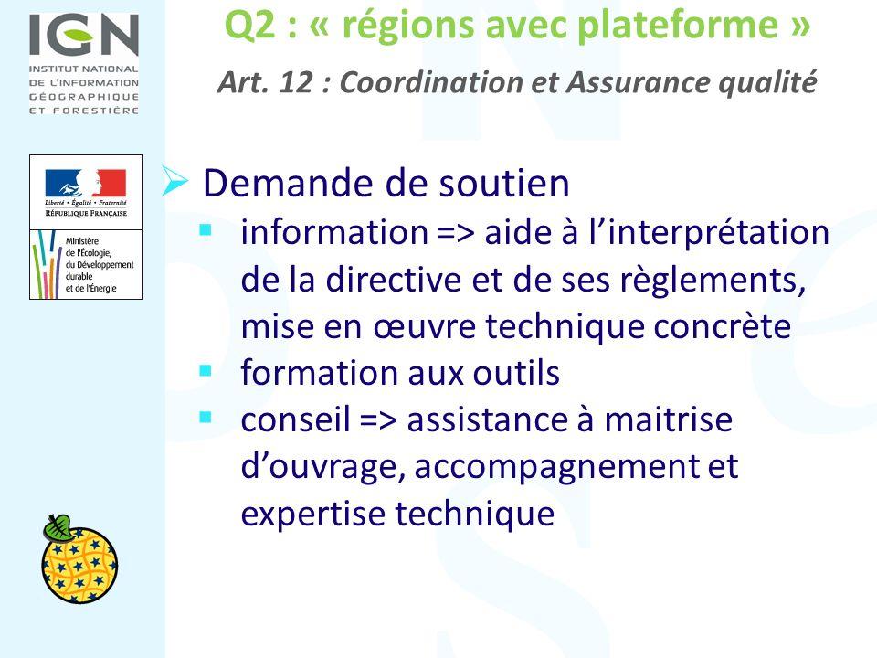 Q2 : « régions avec plateforme » Art. 12 : Coordination et Assurance qualité Demande de soutien information => aide à linterprétation de la directive