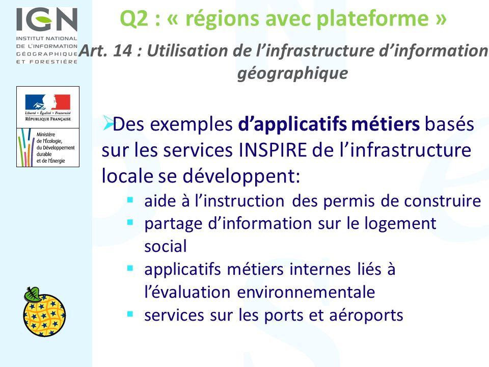 Q2 : « régions avec plateforme » Art. 14 : Utilisation de linfrastructure dinformation géographique Des exemples dapplicatifs métiers basés sur les se