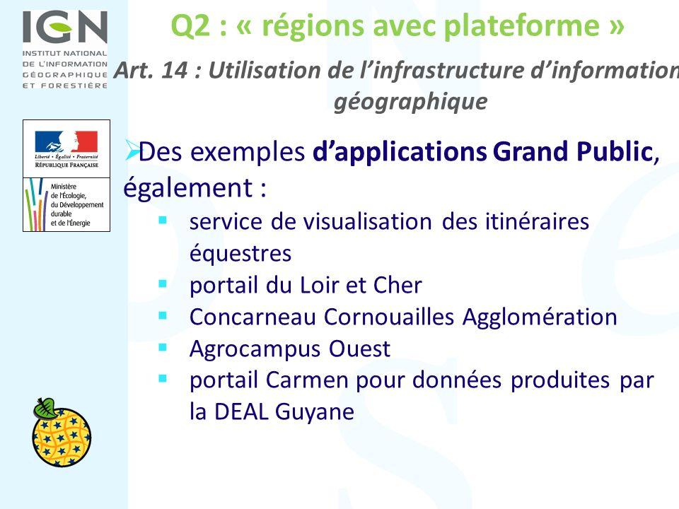 Q2 : « régions avec plateforme » Art. 14 : Utilisation de linfrastructure dinformation géographique Des exemples dapplications Grand Public, également
