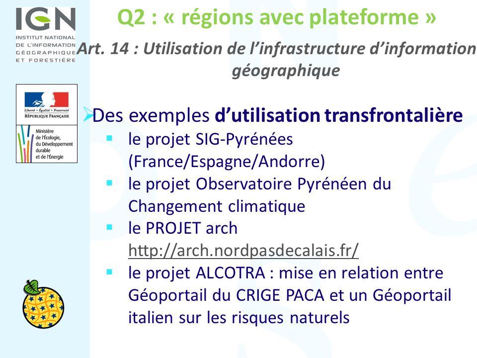 Q2 : « régions avec plateforme » Art. 14 : Utilisation de linfrastructure dinformation géographique Des exemples dutilisation transfrontalière le proj