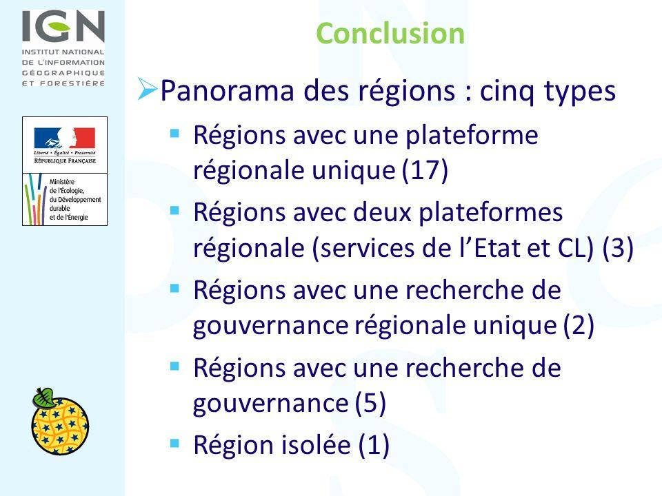 Conclusion Panorama des régions : cinq types Régions avec une plateforme régionale unique (17) Régions avec deux plateformes régionale (services de lE