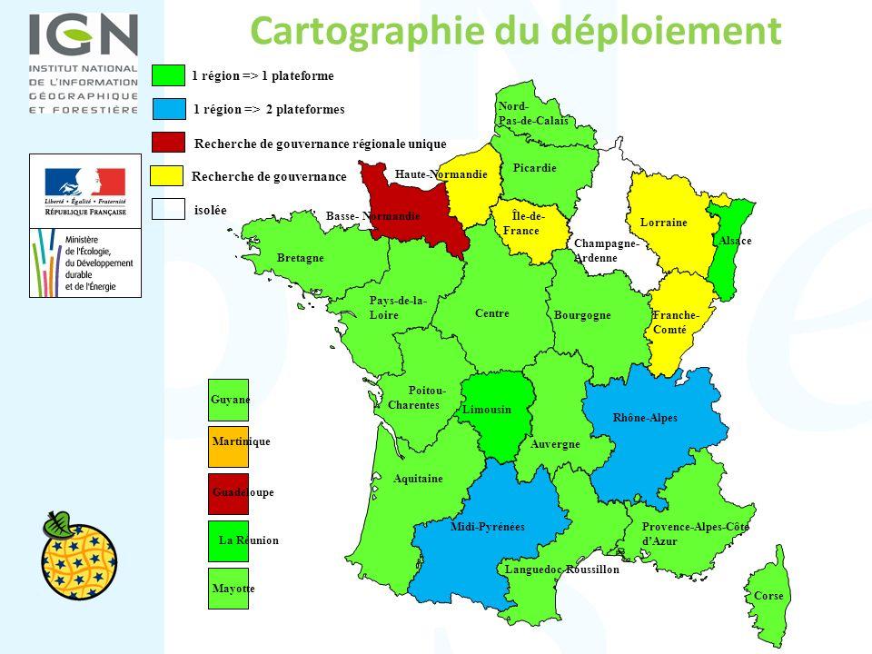 Cartographie du déploiement 1 région => 2 plateformes Guyane Martinique La Réunion Guadeloupe Aquitaine Poitou- Charentes Pays-de-la- Loire Centre Hau
