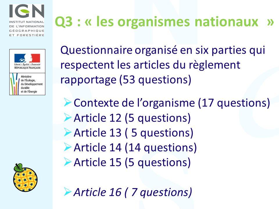 Q3 : « les organismes nationaux » Questionnaire organisé en six parties qui respectent les articles du règlement rapportage (53 questions) Contexte de