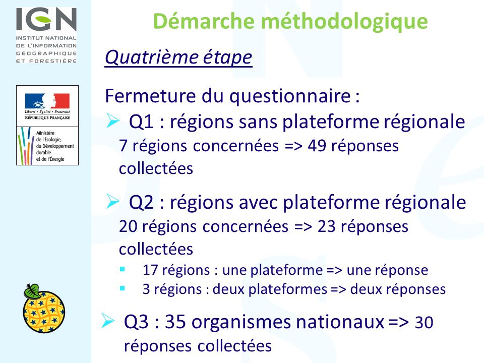 Démarche méthodologique Quatrième étape Fermeture du questionnaire : Q1 : régions sans plateforme régionale 7 régions concernées => 49 réponses collec