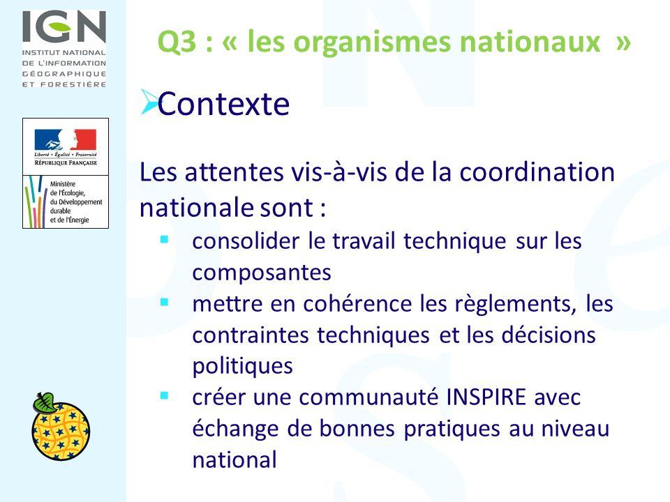 Q3 : « les organismes nationaux » Les attentes vis-à-vis de la coordination nationale sont : consolider le travail technique sur les composantes mettr