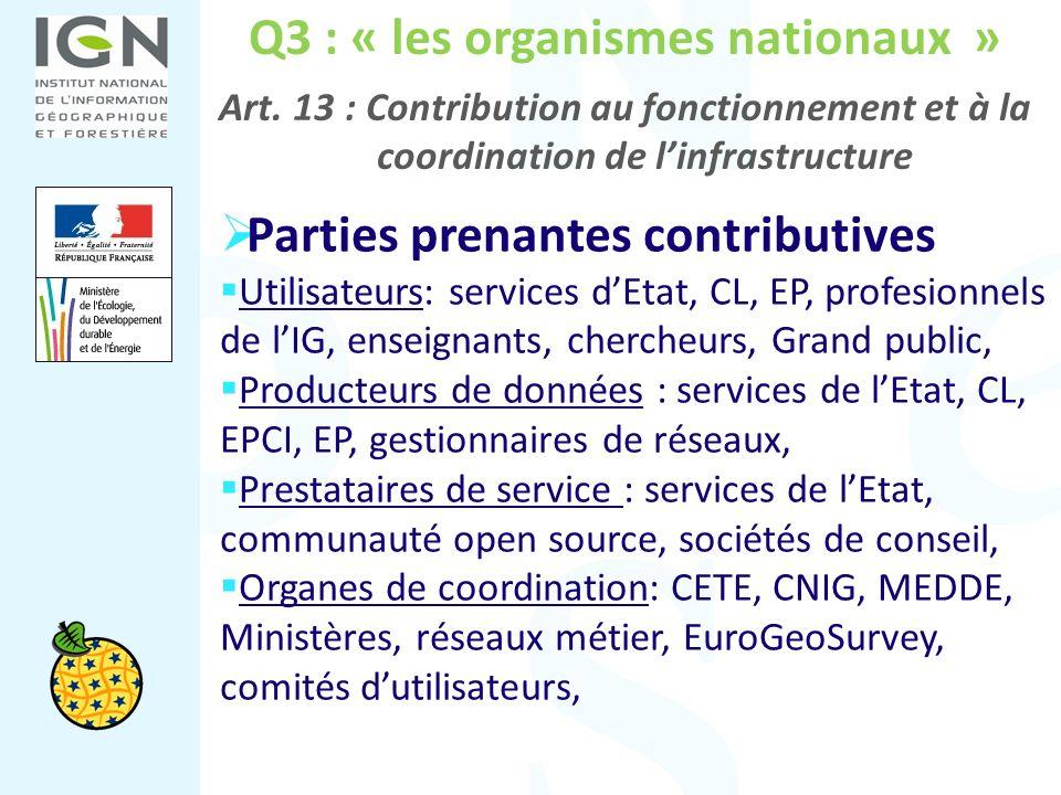 Q3 : « les organismes nationaux » Art. 13 : Contribution au fonctionnement et à la coordination de linfrastructure Parties prenantes contributives Uti