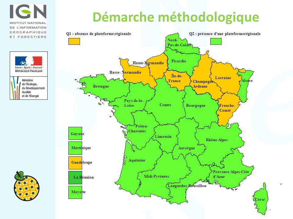 Démarche méthodologique Q1 : absence de plateforme régionaleQ2 : présence dune plateformerégionale Guyane Martinique La Réunion Guadeloupe Aquitaine P