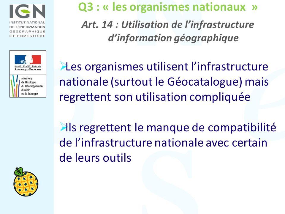 Q3 : « les organismes nationaux » Art. 14 : Utilisation de linfrastructure dinformation géographique Les organismes utilisent linfrastructure national