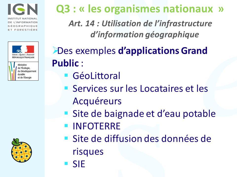 Q3 : « les organismes nationaux » Art. 14 : Utilisation de linfrastructure dinformation géographique Des exemples dapplications Grand Public : GéoLitt