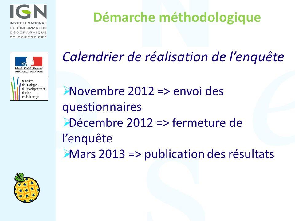 Démarche méthodologique Calendrier de réalisation de lenquête Novembre 2012 => envoi des questionnaires Décembre 2012 => fermeture de lenquête Mars 20