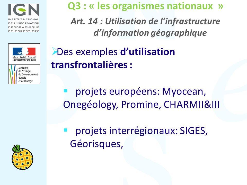 Q3 : « les organismes nationaux » Art. 14 : Utilisation de linfrastructure dinformation géographique Des exemples dutilisation transfrontalières : pro