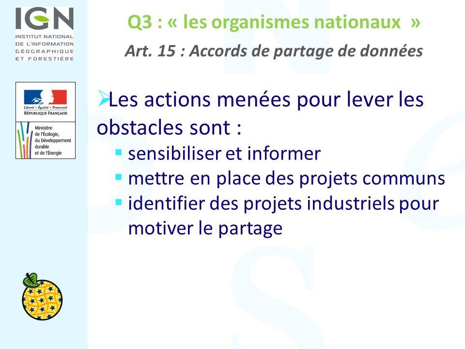 Q3 : « les organismes nationaux » Art. 15 : Accords de partage de données Les actions menées pour lever les obstacles sont : sensibiliser et informer