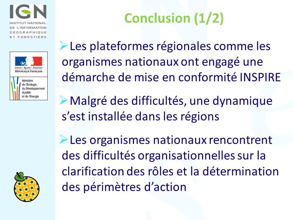 Conclusion (1/2) Les plateformes régionales comme les organismes nationaux ont engagé une démarche de mise en conformité INSPIRE Malgré des difficulté