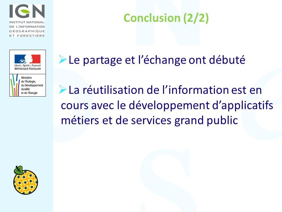 Conclusion (2/2) Le partage et léchange ont débuté La réutilisation de linformation est en cours avec le développement dapplicatifs métiers et de serv
