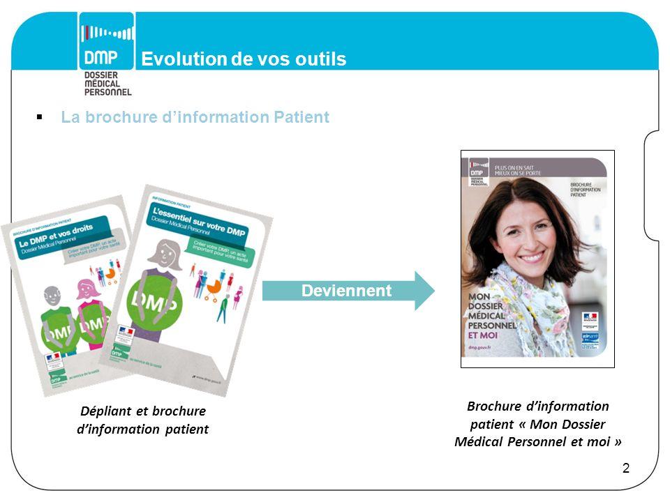 Evolution de vos outils La brochure dinformation Professionnel de Santé 3 Dépliant dinformation professionnel de santé Devient Brochure dinformation « Faciliter la prise en charge et la coordination des soins »