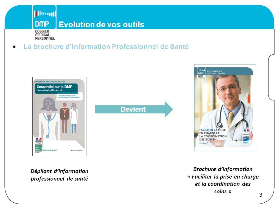 Evolution de vos outils La brochure dinformation Professionnel de Santé 3 Dépliant dinformation professionnel de santé Devient Brochure dinformation «