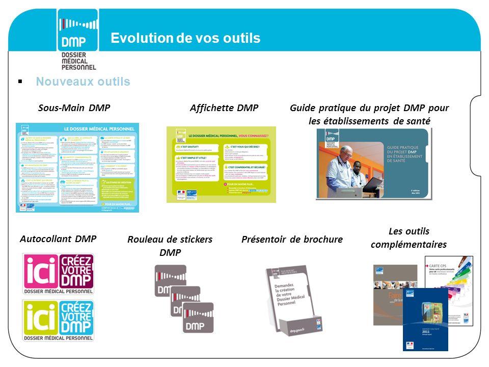 Evolution de vos outils Autocollant DMP Rouleau de stickers DMP Sous-Main DMPAffichette DMPGuide pratique du projet DMP pour les établissements de san