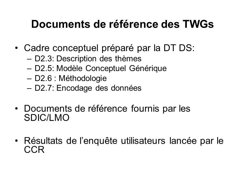 Documents de référence des TWGs Cadre conceptuel préparé par la DT DS: –D2.3: Description des thèmes –D2.5: Modèle Conceptuel Générique –D2.6 : Méthodologie –D2.7: Encodage des données Documents de référence fournis par les SDIC/LMO Résultats de lenquête utilisateurs lancée par le CCR