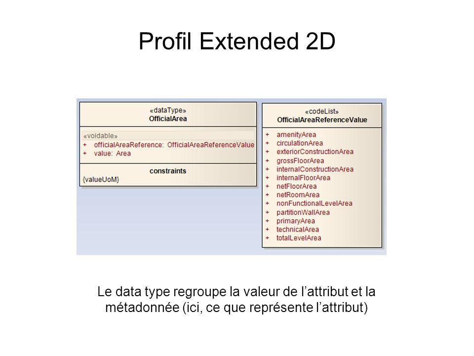 Profil Extended 2D Le data type regroupe la valeur de lattribut et la métadonnée (ici, ce que représente lattribut)