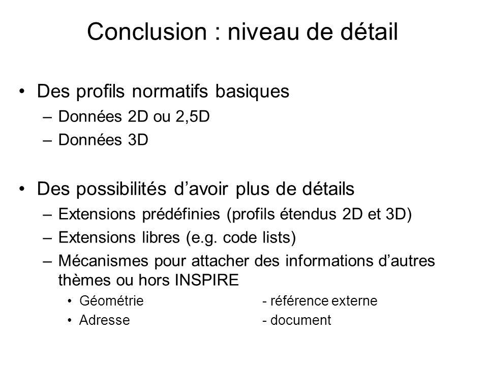 Conclusion : niveau de détail Des profils normatifs basiques –Données 2D ou 2,5D –Données 3D Des possibilités davoir plus de détails –Extensions prédéfinies (profils étendus 2D et 3D) –Extensions libres (e.g.