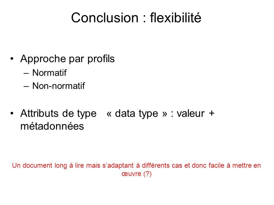Conclusion : flexibilité Approche par profils –Normatif –Non-normatif Attributs de type « data type » : valeur + métadonnées Un document long à lire mais sadaptant à différents cas et donc facile à mettre en œuvre (?)
