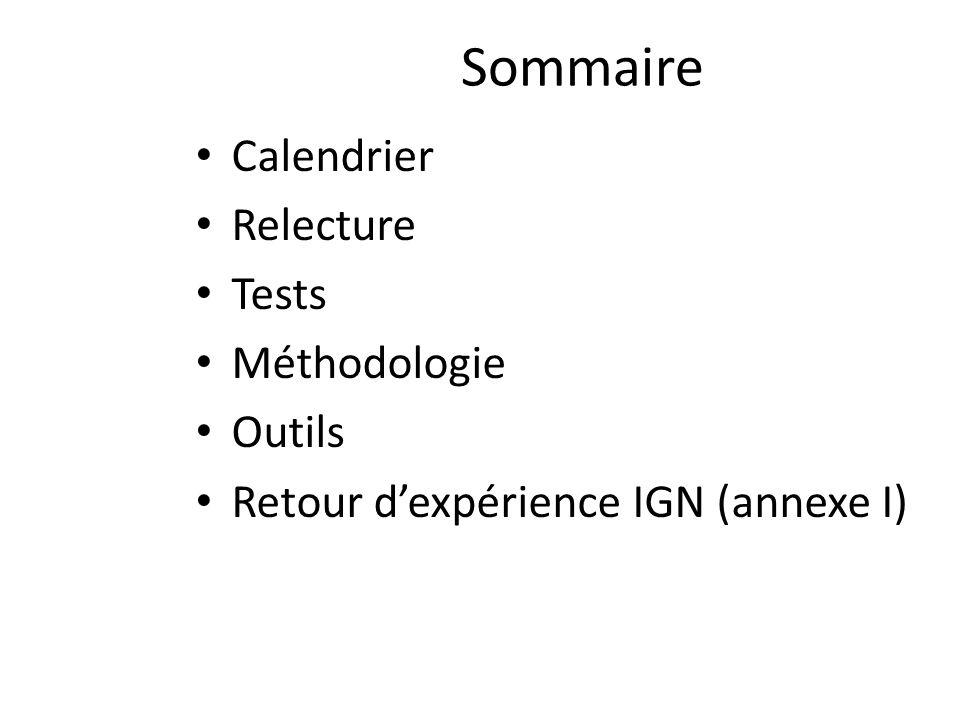 Sommaire Calendrier Relecture Tests Méthodologie Outils Retour dexpérience IGN (annexe I)