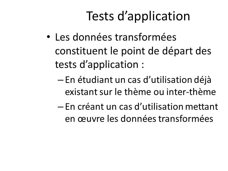 Tests dapplication Les données transformées constituent le point de départ des tests dapplication : – En étudiant un cas dutilisation déjà existant sur le thème ou inter-thème – En créant un cas dutilisation mettant en œuvre les données transformées