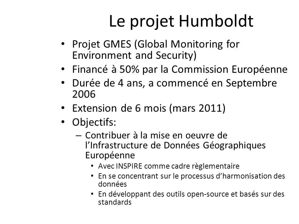 Le projet Humboldt Projet GMES (Global Monitoring for Environment and Security) Financé à 50% par la Commission Européenne Durée de 4 ans, a commencé en Septembre 2006 Extension de 6 mois (mars 2011) Objectifs: – Contribuer à la mise en oeuvre de lInfrastructure de Données Géographiques Européenne Avec INSPIRE comme cadre règlementaire En se concentrant sur le processus dharmonisation des données En développant des outils open-source et basés sur des standards