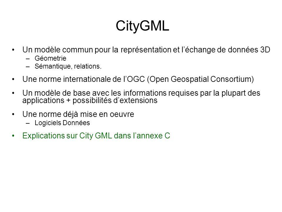CityGML Un modèle commun pour la représentation et léchange de données 3D –Géometrie –Sémantique, relations.
