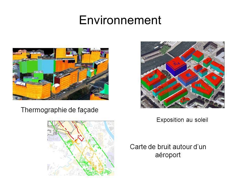 Environnement Thermographie de façade Carte de bruit autour dun aéroport Exposition au soleil