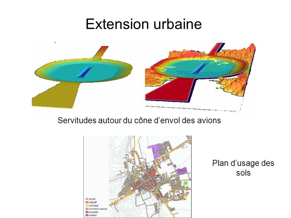 Extension urbaine Plan dusage des sols Servitudes autour du cône denvol des avions