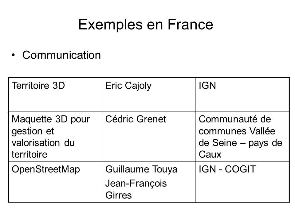 Exemples en France Communication Territoire 3DEric CajolyIGN Maquette 3D pour gestion et valorisation du territoire Cédric GrenetCommunauté de communes Vallée de Seine – pays de Caux OpenStreetMapGuillaume Touya Jean-François Girres IGN - COGIT