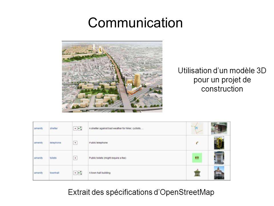 Communication Utilisation dun modèle 3D pour un projet de construction Extrait des spécifications dOpenStreetMap