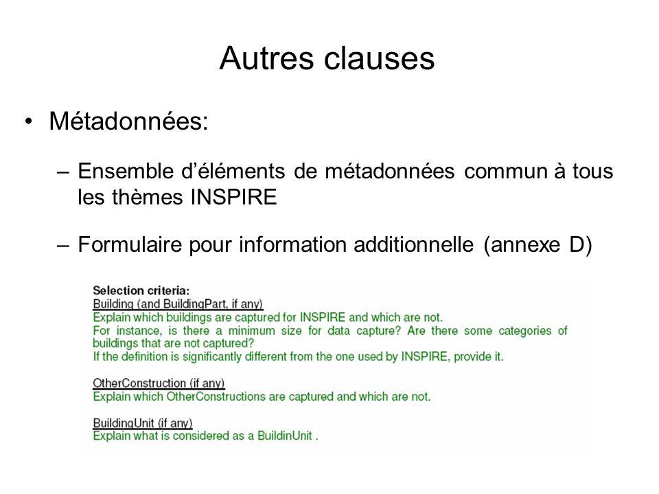Autres clauses Métadonnées: –Ensemble déléments de métadonnées commun à tous les thèmes INSPIRE –Formulaire pour information additionnelle (annexe D)