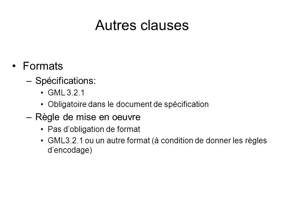 Autres clauses Formats –Spécifications: GML 3.2.1 Obligatoire dans le document de spécification –Règle de mise en oeuvre Pas dobligation de format GML3.2.1 ou un autre format (à condition de donner les règles dencodage)