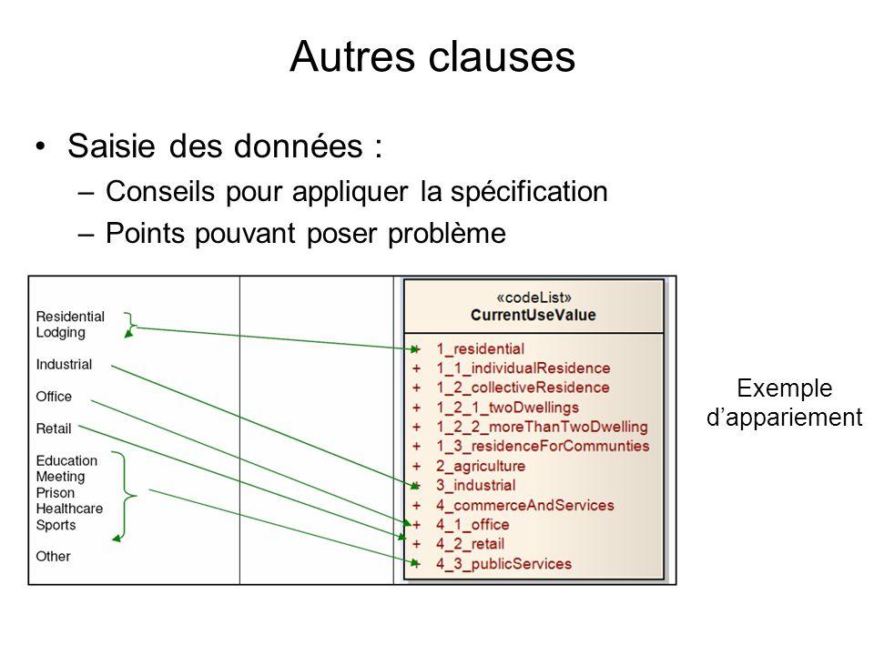 Autres clauses Saisie des données : –Conseils pour appliquer la spécification –Points pouvant poser problème Exemple dappariement