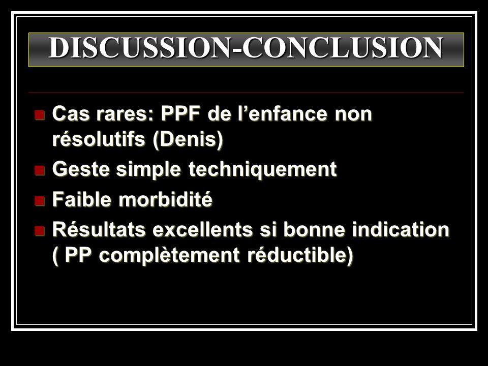 DISCUSSION-CONCLUSION Cas rares: PPF de lenfance non résolutifs (Denis) Cas rares: PPF de lenfance non résolutifs (Denis) Geste simple techniquement G