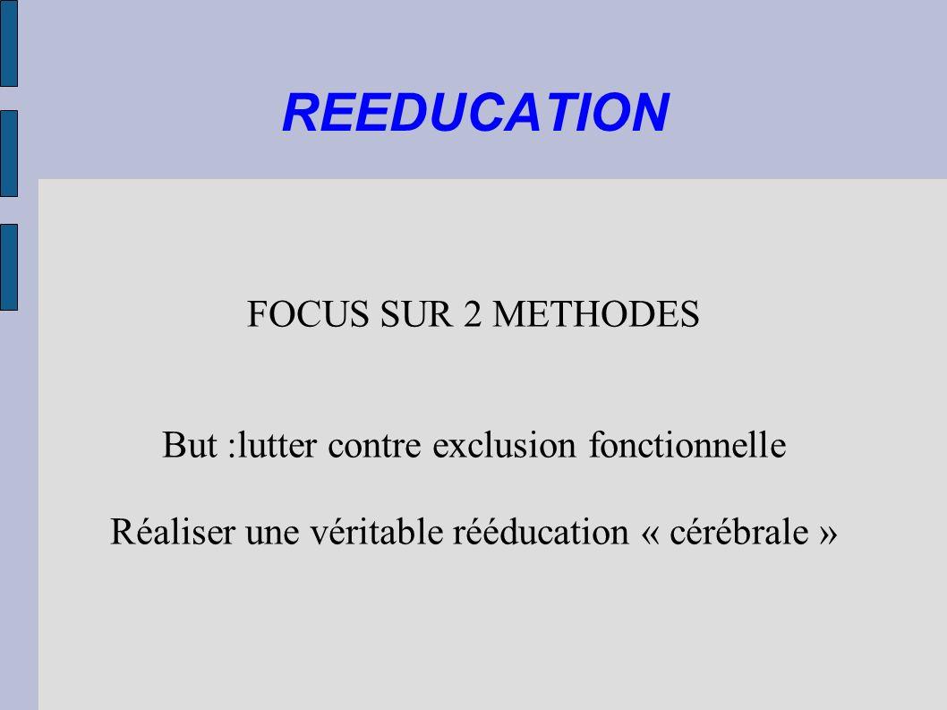 REEDUCATION FOCUS SUR 2 METHODES But :lutter contre exclusion fonctionnelle Réaliser une véritable rééducation « cérébrale »