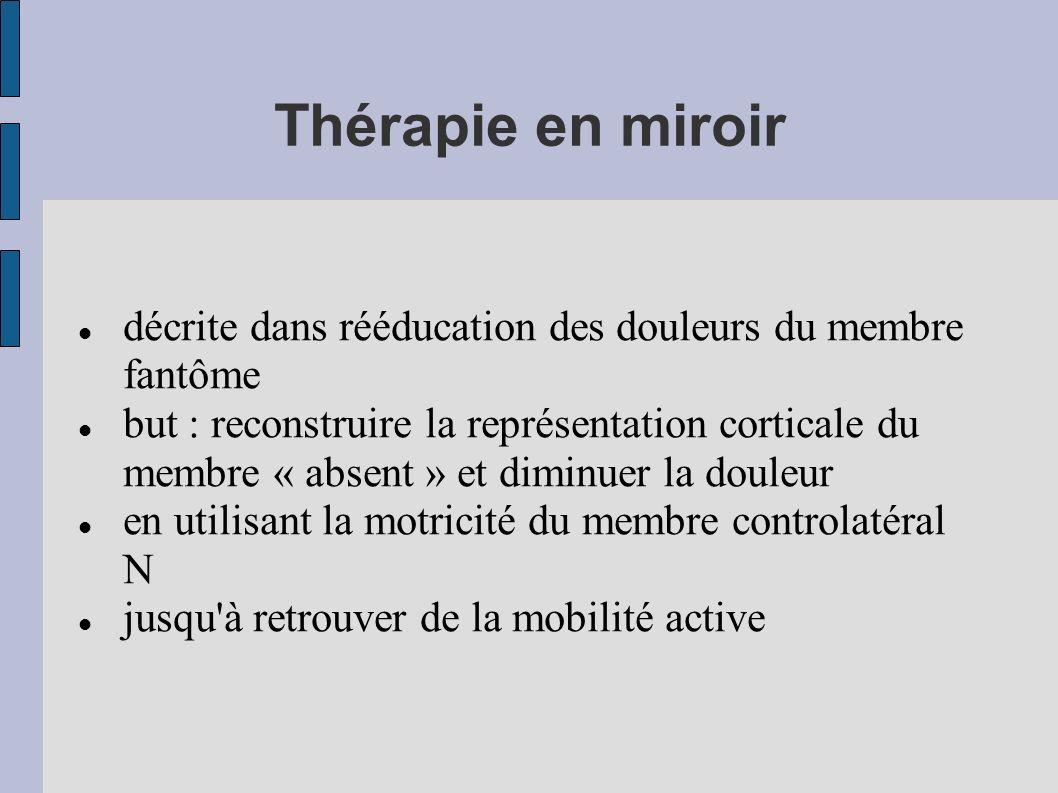 Thérapie en miroir décrite dans rééducation des douleurs du membre fantôme but : reconstruire la représentation corticale du membre « absent » et dimi