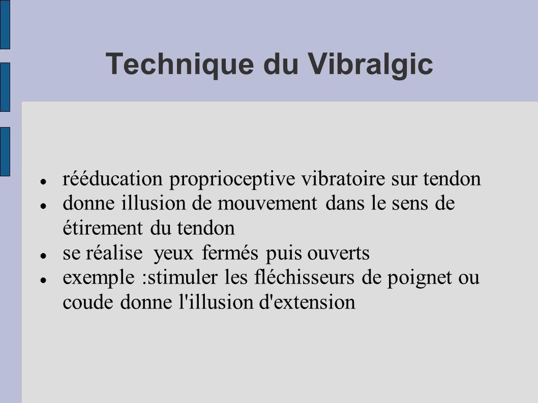 Technique du Vibralgic rééducation proprioceptive vibratoire sur tendon donne illusion de mouvement dans le sens de étirement du tendon se réalise yeu