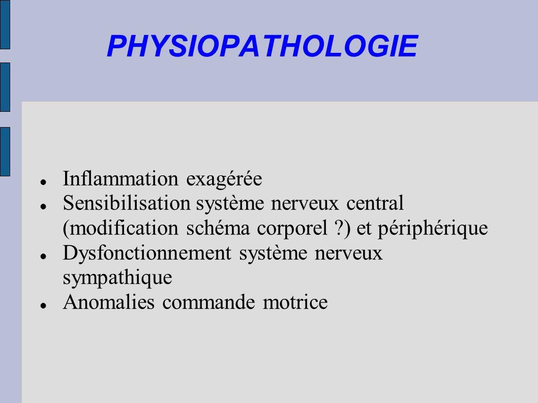 PHYSIOPATHOLOGIE Inflammation exagérée Sensibilisation système nerveux central (modification schéma corporel ?) et périphérique Dysfonctionnement syst